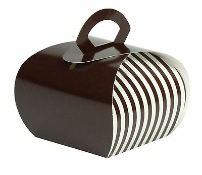 "4"" x 4"" Pastry Carrier or Single Cupcake Carrier Brown/White Stripe 100/ctn"