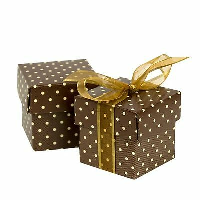 "Silk Embossed 2"" Favor Box - White Dots on Brown - 200 per pack"