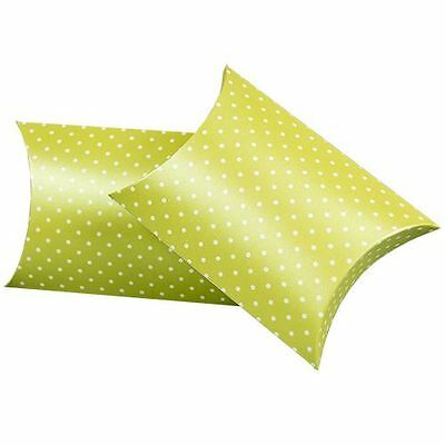 "Pillow Favor Boxes - Silk Embossed White Dots on Mint - 4"" Wide - 200 per pack"
