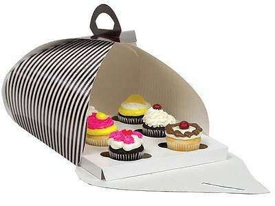 "10"" x 10"" Pie, Pastry, and Cupcake Carrier Brown/White Stripe 50/ctn"