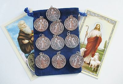 Wholesale Lot 10 New Round St. Benedict Saint Medals, Very Detailed
