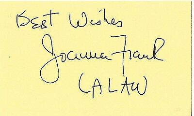 Joanna Frank authentic signed autographed index card COA