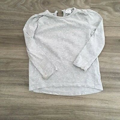 F&F girls cotton long sleeve pale grey white spots top Age 9-12 months