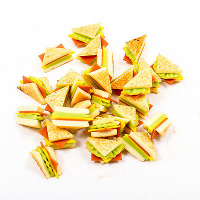 5PCS Sandwich Ham Cheese Bakery Food 8x10mm 1:12 Scale Miniature Dollhouse A1748