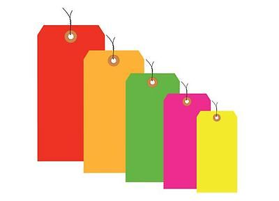 Shipping Tags 13 Pt. Fluorescent Pre-Wired 5 colors All sizes 1000/lot Bulk