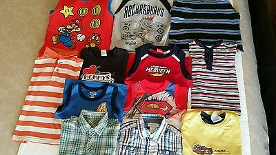 Lot of 12 Assorted BOY'S TODDLER  TOPS 4T,3T,2T Short and Long Sleeves