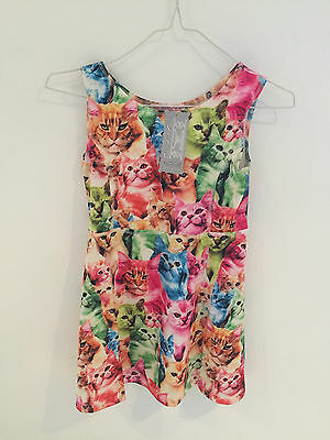 Girls size 8 cat print dress party Brand new with tags