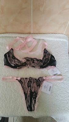 Ann Summers Marie Quarter Cup Bra & Thong Black & Pink Size Small New Tagged