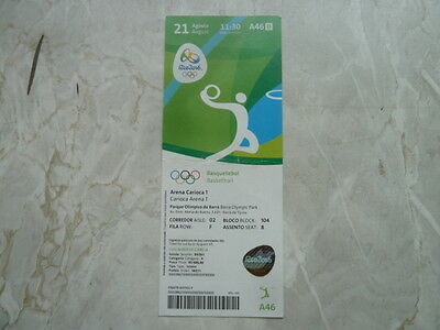Used Ticket Olympic Games 2016 Olympia A46 Basketball Australia Spain 3rd Place