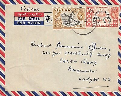 K 1597 Nigeria 1954 airmail to UK; Forces rate 2 1/2d