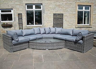 Luxury Grey Rattan Outdoor Garden Furniture Rounded Corner Sofa Set