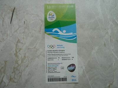 Used Ticket Olympic Games 2016 Olympia D11 Swimming Schwimmen Natacao 11.08.16