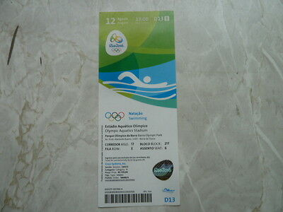 Used Ticket Olympic Games 2016 Olympia D13 Swimming Schwimmen Natacao 12.08.16