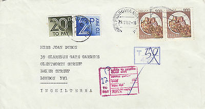 L 1333 Italy 1982 cover to UK; tax marks; UK postage due stamps applied; castles