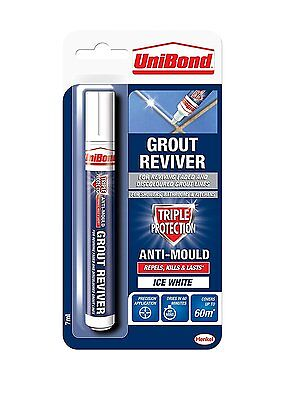 Unibond Grout Reviver Anti-Mould Pen Ice White 7ml For Walls Tiles Bathrooms