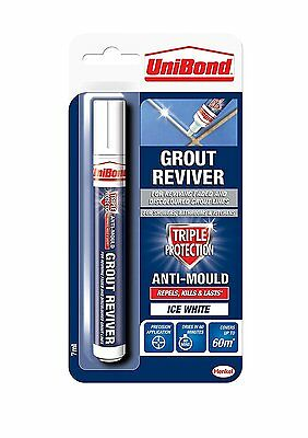 12 Unibond Grout Reviver Anti-Mould Pen Ice White 7ml For Walls Tiles Bathrooms