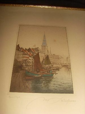 Antique Framed Hand Coloured Etching