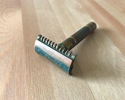 Antique Copper Safety Razor With Beautiful Green Patina