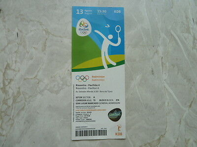 Used Ticket Olympic Games 2016 Olympia K08 Badminton 13.08.2016