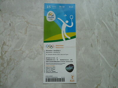 Used Ticket Olympic Games 2016 Olympia K13 Badminton 15.08.2016 Quarterfinals