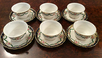 Six Crown Staffordshire Cup And Saucers With Silver Mappin & Webb Holders 1930