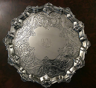 A George III Silver Card Tray By Ebenezer Coker London 1771