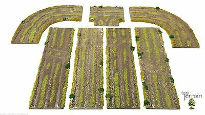 Wargames Scenery Terrain 15mm-28mm - Rural / Dirt Roads - 7 Pc Resin Set