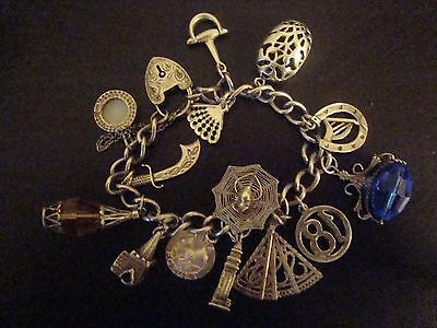 Vintage Irish Sterling 925 Silver Charm Bracelet w/ Irish charms, Some Movable