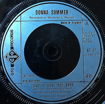 "DONNA SUMMER - LOVE TO LOVE YOU BABY  b/w  NEED A MAN BLUES  (1975)  7"" vinyl"