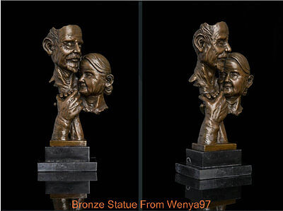Art Deco Sculpture Old Couple Man And Woman Hug Abstract Bronze Statue