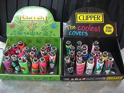 Clipper  Assorted HAND SEWN COVERS Flint Lighter Refillable 32 DESIGNS/COLOURS