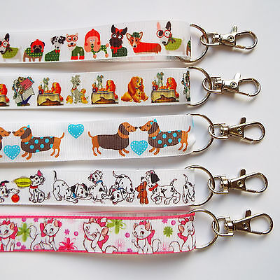Dogs and Cats - Handmade Ribbon Lanyards/ Keychain/ ID Holder