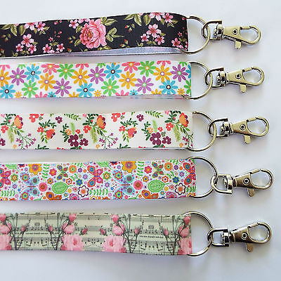 Floral - Handmade Ribbon Lanyards/ Keychain/ ID Holder