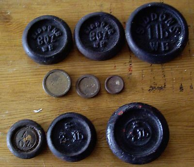 9 X VINTAGE CAST IRON AND BRASS KITCHEN SCALE WEIGHTS. Siddons etc.