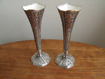 Pair of Viners Silver Plated Lined Spill Vases