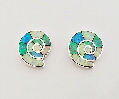Premium Fire Green White Blue Opal Shell Channel Inlay 925 Silver Stud Earrings