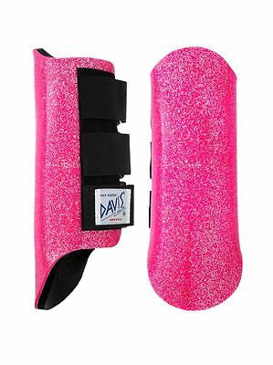 Davis Horse Boots Tendon Brushing Jumping Classic Protection Pink Glitter Large