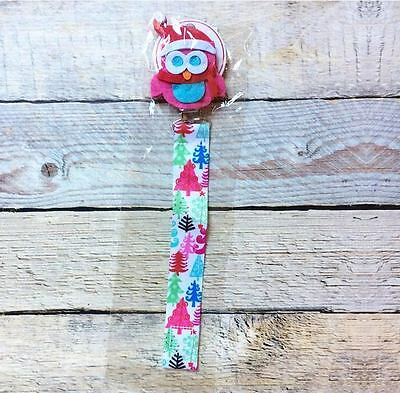 New Mud Pie Christmas Owl Pacifier Clip Holder