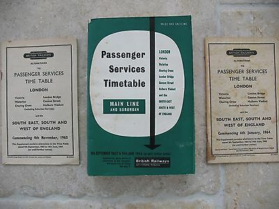 British Railways Southern Region Passenger Timetable Sep 1963 incl Map and Alts
