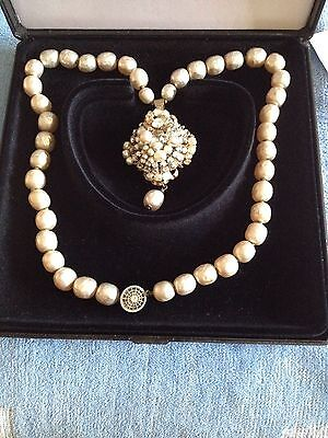 Signed Miriam Haskell Baroque Style Costume Pearl Necklace