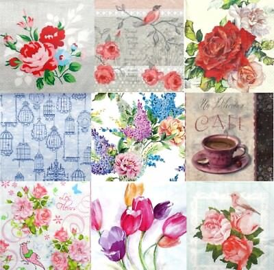 Pack of 20 Lunch Table  Paper Napkins Party Decoupage Craft -Floral- Flowers W88