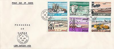 Q 1619 Qatar Progress in Qatar stamps January 1969 First Day Cover; Dukhan cds