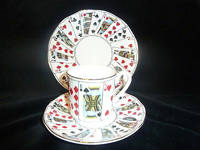 Queens Bone China Playing Cards Design Trio Cup Saucer Side Plate