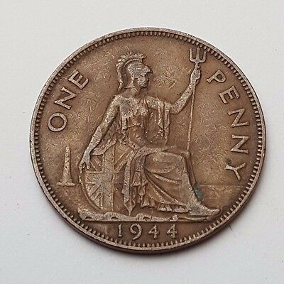 1944 - Copper - One Penny - Great Britain - King George VI - English UK Coin