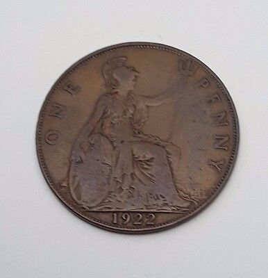 1922 - Copper - One Penny - Great Britain - King George V - English UK Coin