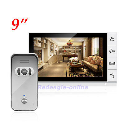 9 inch Color LCD Video Door Phone Doorbell Intercom System Night Vision Camera