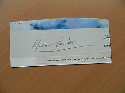 Group Captain Sir Douglas Bader CBE DSO DFC Original clipped Pencil Signature