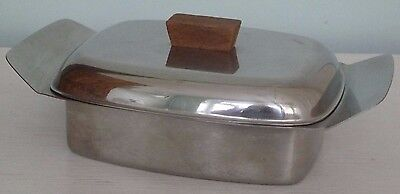 Vintage Stainless Steel Lidded Butter Dish with Wooden Finial