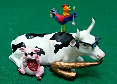 Retired Mixed Plate Blues Rooster Pig Cow Parade Figurine Jazz Statue