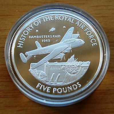 Guernsey 2008 Dambusters Raid History Of RAF £5 Five Pounds Silver Coin & COA #
